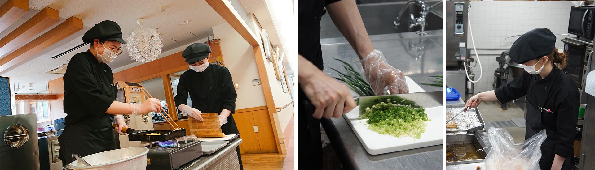 泉北園百寿荘のキッチン業務のようす